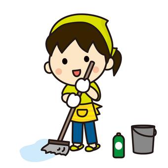 A woman holding a mop