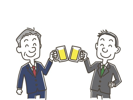 Two men toasting with beer