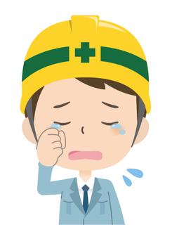 ヘルメット会社員*感情_泣く