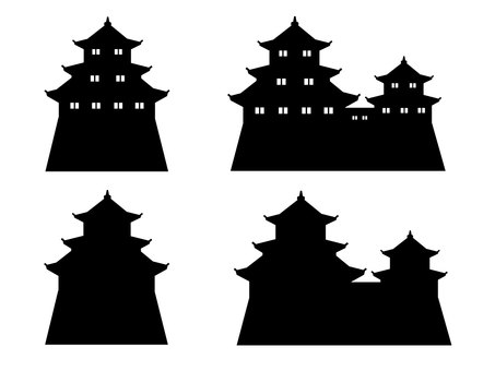 Japanese castle Silhouette material set