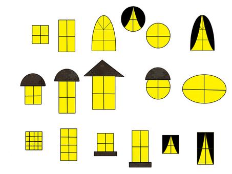 Various windows, night