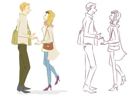 People's Men and Women Illustration Winter Clothes Two People Date