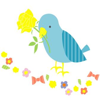 꽃 산책로를 걷는 파랑새
