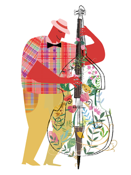 Contrabass and player drawn with flowers