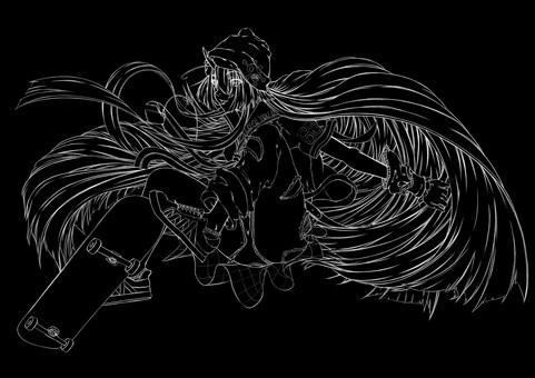 Maki Kashima, skatebo 3 (line drawing)