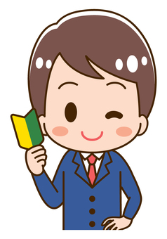 Illustration of a male student with a beginner's mark