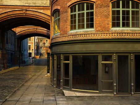 古いロンドンの街並みの風景(早朝)