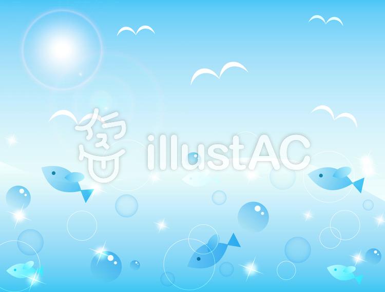 【フリーイラスト素材】お魚と夏の海