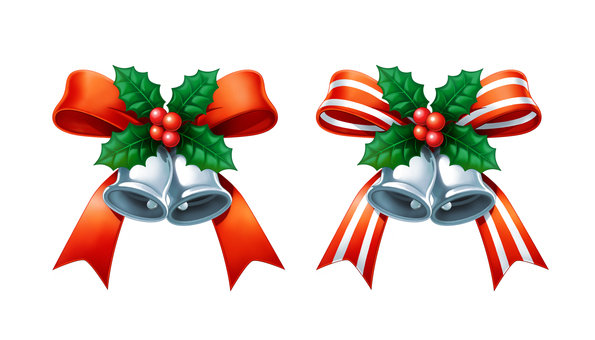 Christmas bell set silver ribbon