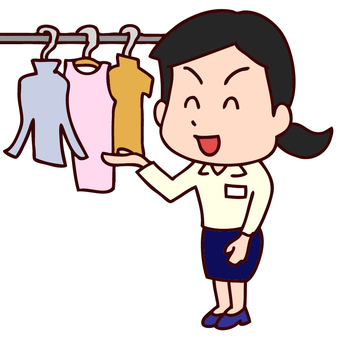 Illustration of a female clerk selling clothes