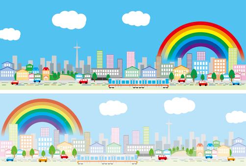 Town street rainbow train