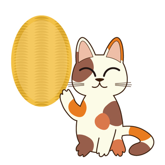 Image of lucky cat (no letters in oval)