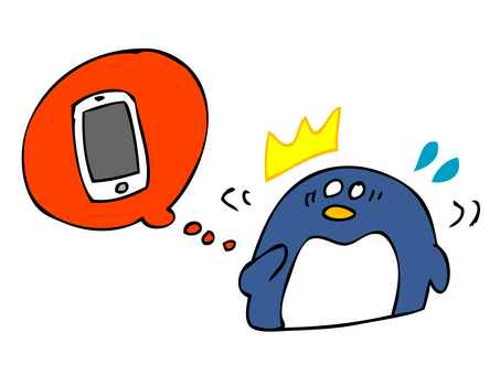 Penguin looking for smartphone