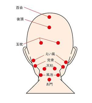 Key points 10 - acupuncture points in the back of the head