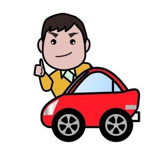 A man riding a car