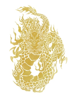 Dragons and waves (gold)
