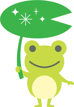 Frog with lotus leaves