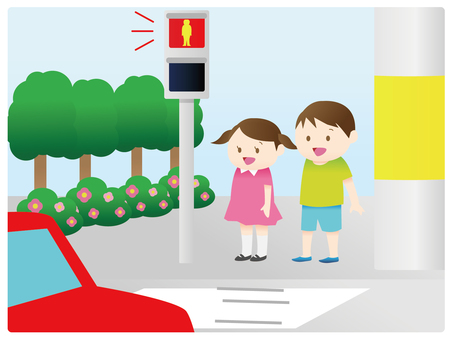 A child waiting for a signal
