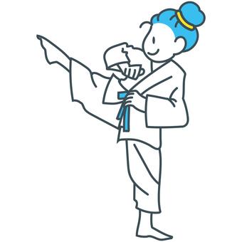 Blue yellow white kicking karate girl