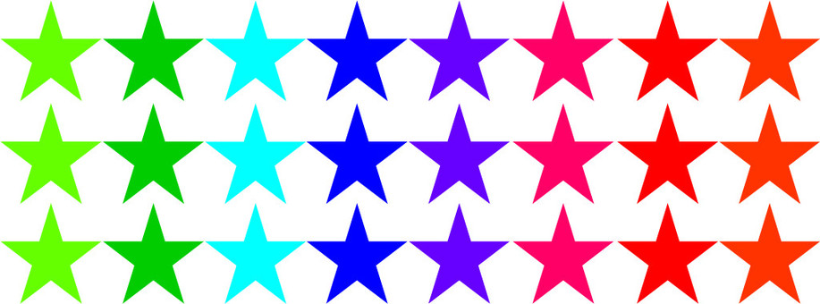 3 colorful three rows of stars