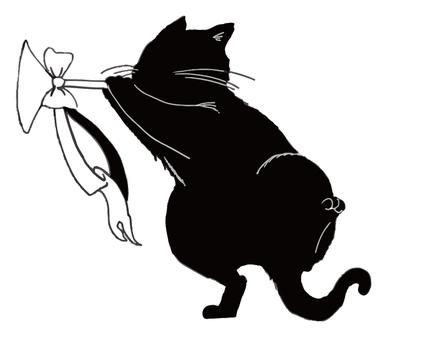 Black cat silhouette - trumpet