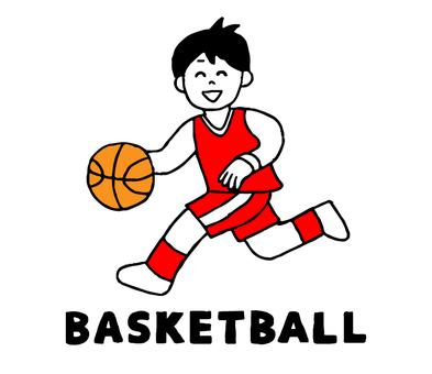 バスケットボールをする男性(シンプル)