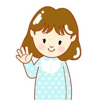 Girls waving hands (bordering)