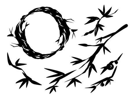 筆書き風植物セット
