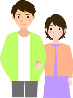 Male and female couple smile