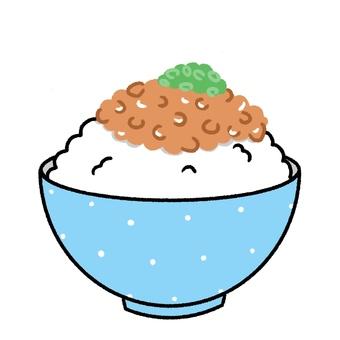 納豆飯,可愛的手繪