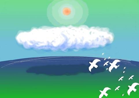 태양과 구름과 새
