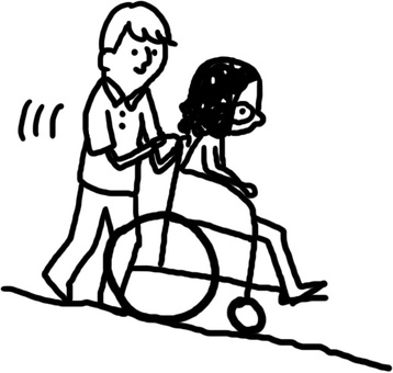Illustration of going down a hill with a wheelchair