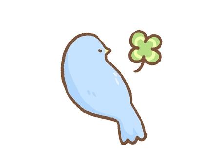 Blue bird with clover