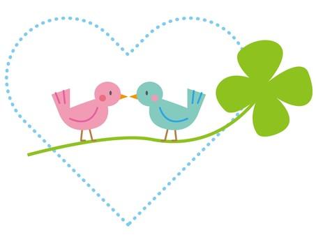 작은 새와 네 잎 클로버