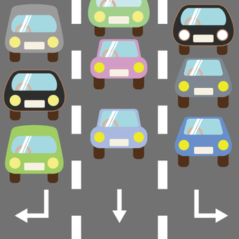 Image of a road on which a car with multiple lanes runs