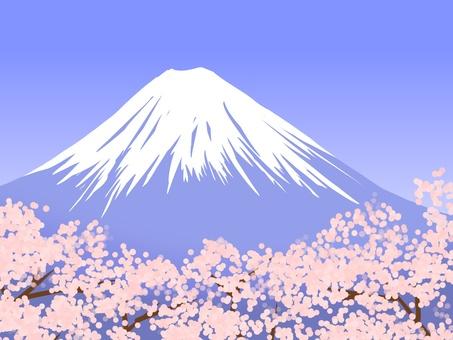 후지산과 벚꽃