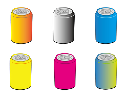 Cans of various colors