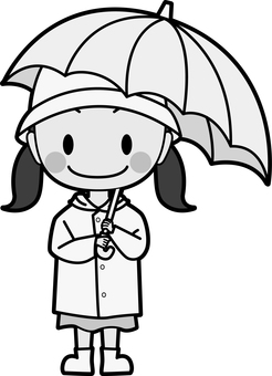 Girls wearing raincoats Monochrome