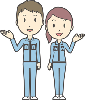 Male and female set worker -020-whole body