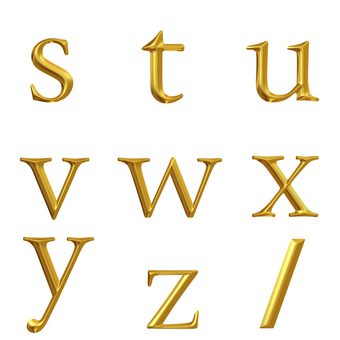 3D character lower case letter S - Z (clipped)