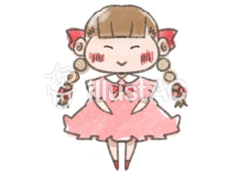 三つ編み女の子笑顔ワンピース塗り絵イラスト No 1141431無料