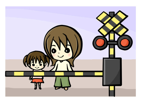 Parent and child waiting for railway crossing