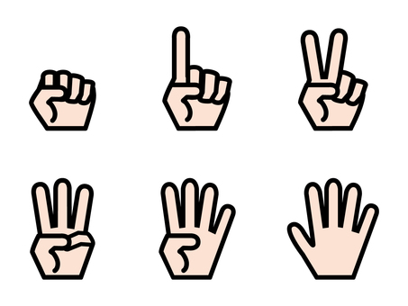 Simple hand number set colored