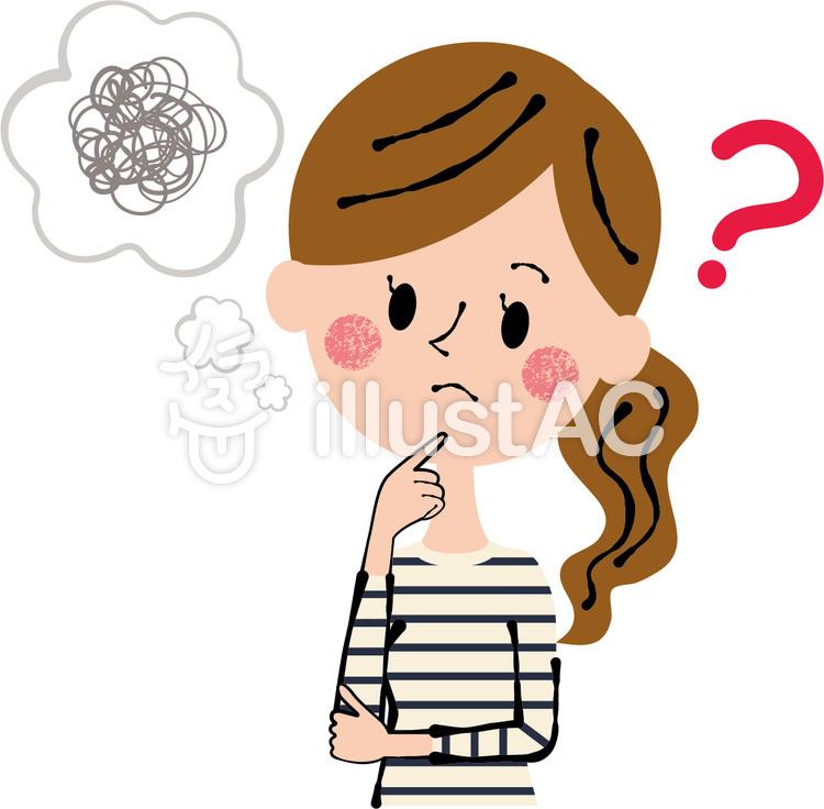 考える 悩む 顎に指 私服 女性 上半身のイラスト