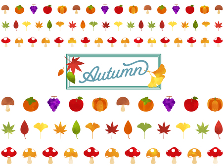 Autumn Line material Watercolor style