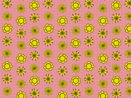 Chiyogami yellow flower (pink)