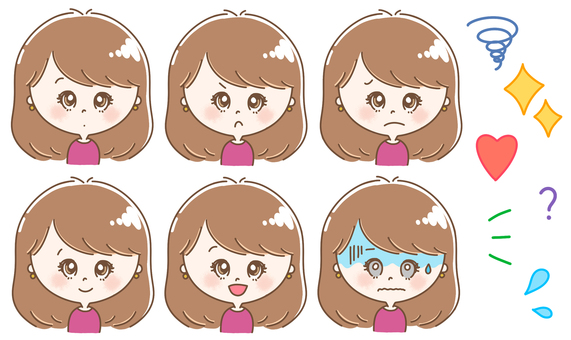 Women with various expressions