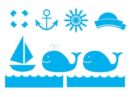 Marine pattern icon set (light blue)