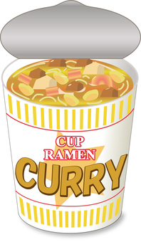 Cup noodle curry _ lid opening