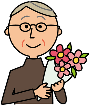 Elderly man with bouquet _ Upper body